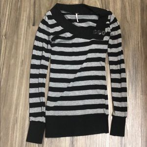 Black and gray striped sweater with button detail
